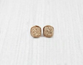 Druzy Earrings, Rose Gold Earrings, Dainty Earrings, Stone Earrings, Bridesmaid Earrings, Wedding Jewelry, White, Gold, Sterling Silver,Blue