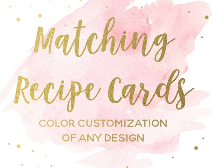 Matching Recipe Cards for any Bridal Shower Invitation Design, Printable Kitchen Shower Inserts, Shower Games, Coordinating Inserts
