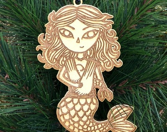 Mermaid Christmas Ornament - Mother and Baby Ornament - Baby Christmas Ornament - Babywearing Ornament - Babys First Christmas Ornament