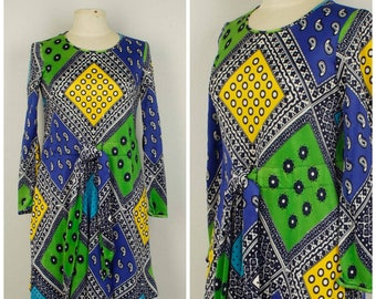 AS IS Jonathan Logan mod mini dress 60s to 70s vintage blue lime green yellow 34 inch bust small