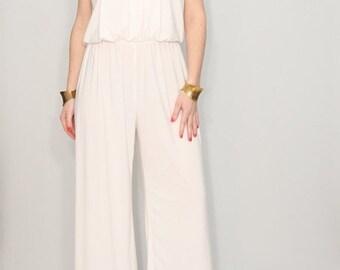 SALE Jumpsuit wedding alternative white jumpsuit ivory jumpsuit white pants bridesmaid jumpsuit