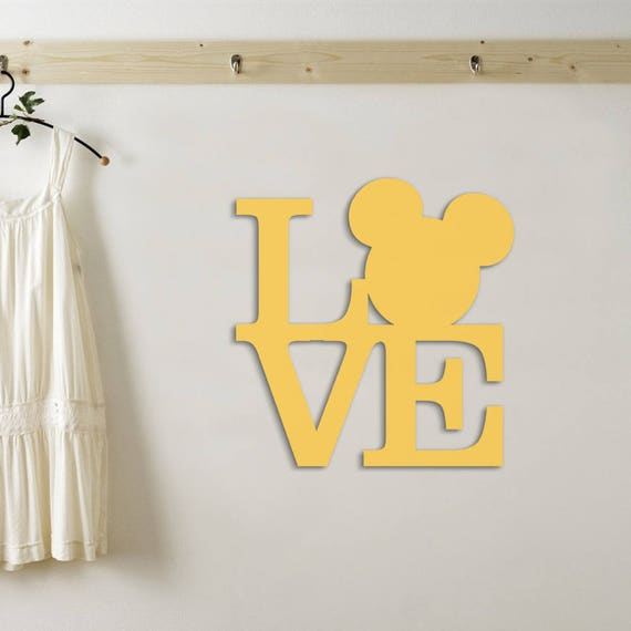 Wooden Minnie Mouse Sign Wooden Love Sign Wall Hanging Wood