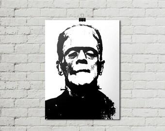 Frankenstein Print, 18 x 24 Poster, INSTANT DOWNLOAD, Black & White Cult Classic Film Poster, Monster Poster, Gothic Horror, Retro Art Print