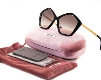 MIU MIU CULTE Limited Edition Women's retro sunglasses Black Gold sunglasses Grey Gradient lenses smu 11n 1ab-oa7 2n Butterfly sunglassses