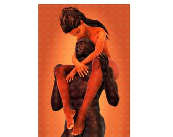 "Black Love Art African American Art ""Bliss"" print by African American Artist Eric Austin"