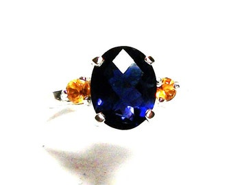"Iolite, iolite ring, iolite accent ring, multi stone ring, birthday, anniversary,  blue yellow ring, s 7 1/2  ""Periwinkle Twinkle"" """