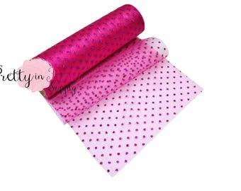"""5.5"""" Hot Pink Polka Dot Glitter Tulle -6 yd Roll-GLITTER TULLE- Shimmer tulle-Sheer Tulle-Craft Supply-Netting-Fabric 5.5"""" Wide"""