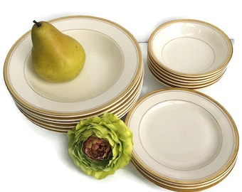 Carrollton Gold Band Mid Century China set of 16 pieces bread plates and bowls, mix match china, wedding place settings,