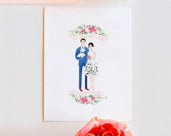 Custom COUPLE with PET Illustration Wedding Anniversary Gift Idea