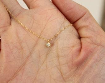 Tiny CZ diamond necklace, gold necklace, delicate necklace, minimal necklace, choker, everyday necklace, silver necklace, layered necklace