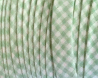 "GREEN GINGHAM 1/2"" Extra Wide Double Fold Bias Tape BTY 100% Made in America"