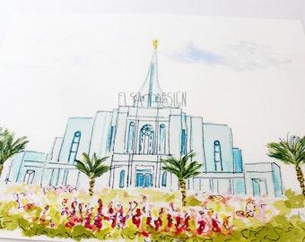 Gilbert, Arizona LDS Temple - Watercolor Temple 8x10 print by Elsa Ferre