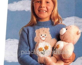knitting pattern, children's Care Bears sweater, jumper, teddy bear, sizes 22-28 in, pdf, digital download, instant download