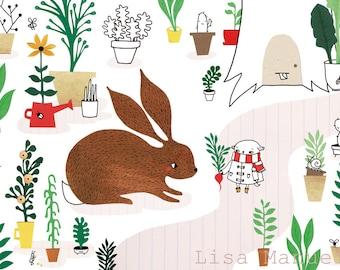 Print Garden - illustration A4 | wall art, cute print, papercut, paper illustration, A4 poster, bunny print, kids room wall art, kids decor