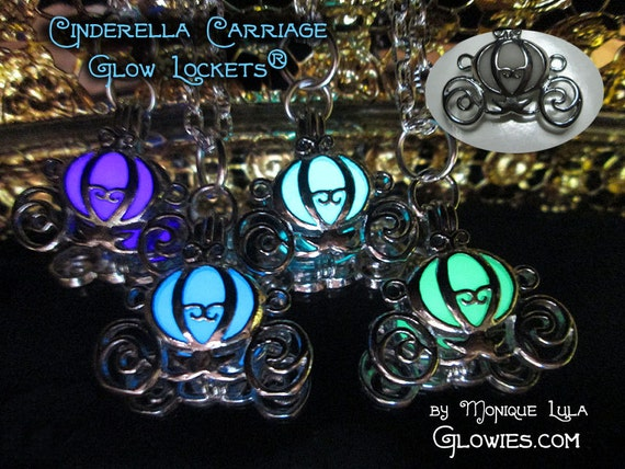 Cinderella Pumpkin Carriage Glow Locket Princess Necklace