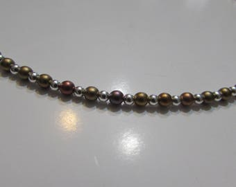 Rainbow and metallized bohemian pearl necklace
