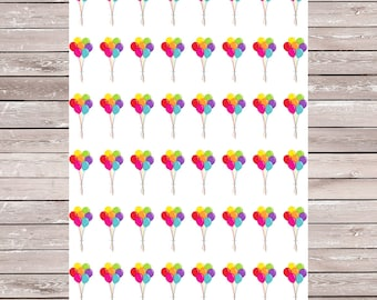 Birthday Balloons Set of 48 Planner Stickers, Erin Condren Planner Stickers, ECLP, Filofax, Kikki K, Mambi, Happy Planner