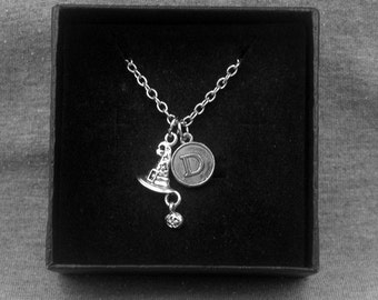 Silver Witch Hat Necklace -Wizard Hat Necklace -Initial Charm Necklace -Your Choice of A to Z