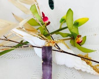 Raw Organic Amethyst Bar Necklace Bar necklace Amethyst necklace