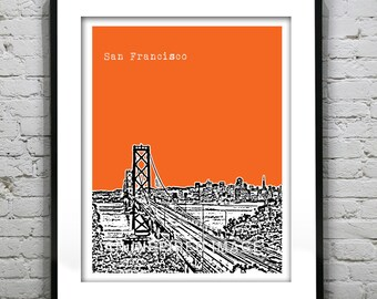 San Francisco Poster Art Skyline Print Bay Bridge Item T1184