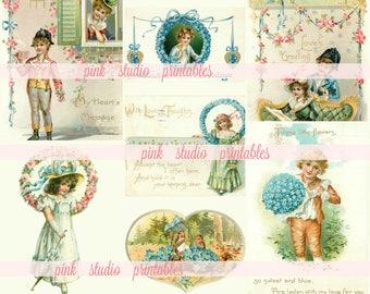 Pretty Valentines,   Printable Collage Sheet (digital download, printable) journal cards, tuck spots, bujo, junk journal