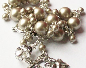 Sterling Silver Platinum Swarovski Pearl Rosary Bracelet, Unbreakable, Rose, Miraculous Medal, Catholic