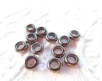 x 12 wooden beads 7 mm spacers spacers gun metal.