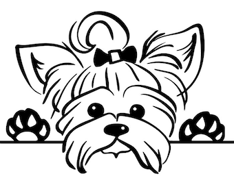 Yorkshire Terrier #4 Puppy Peeking Yorkie Dog Breed K-9 Pedigree Purebred Animal Pet Lap Teacup Logo.SVG .EPS .PNG Vector Cricut Cut Cutting