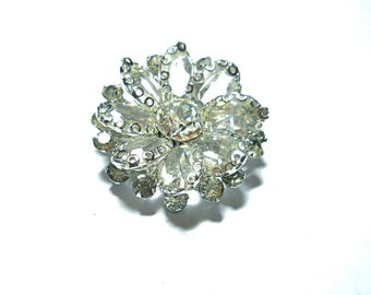 Vintage Rhinestone Brooch Wedding Bridal Brooch 1950s