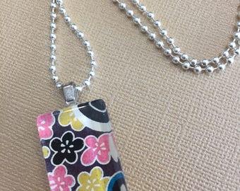 Mini Glass Domino Tile Pendant Necklace