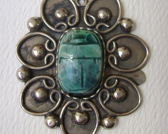 large sterling scarab pendant, egyptian revival