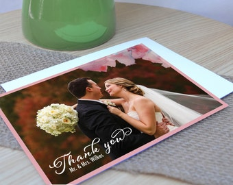 Violet Watercolor Flowers Thank You Card - Digital PDF