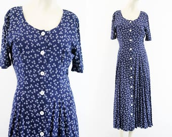 Decked Out Vintage 90's Grunge Navy and White Floral Print Short Sleeve Button Front Tie Back Woman's Retro Maxi Dress