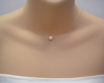 Zara ~ White Czech Pearl, Floating Pearl Necklace, Illusion Necklace, Simple Pearl Necklace, Pearl Illusion Necklace