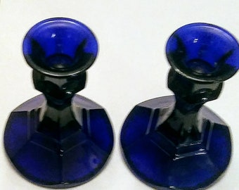 Vintage Taper Candlestick Holders/Indiana Glass Company/Beautiful Cobalt Blue/Pair of Glass Taper Candle Holders/Colbalt Candlestick Holders