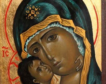 Orthodox hand painted icon Virgin Mary & Christ child
