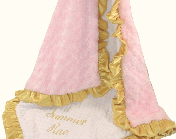 Minky Baby Blanket, Personalized Blanket, Pink Gold Blanket, Pink Gold Quilt, Pink Gold Throw, Gold Pink Quilt, Embroidered Blanket