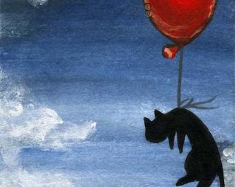 Cute Cat Print, Black Cat Artwork, Large Wall Art, Balloon Decor, Night Sky, Pet Owner Gift, Bedroom Art, Nursery Animal Illustration