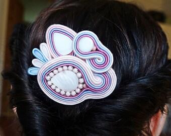 Pastel color soutache decorative comb, hair comb, decorativi  pettine soutache