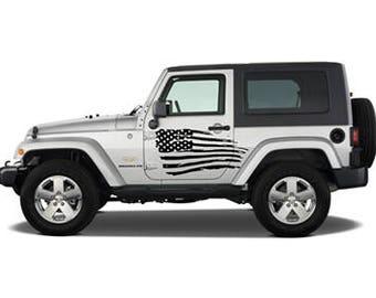 Distressed Jeep USA Flag
