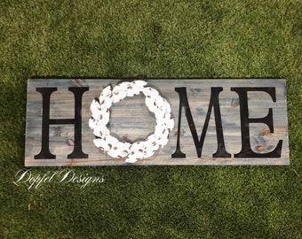 Wooden Home Sign with Metal Magnolia Wreath