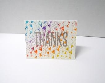 Handmade greeting card - Thanks - Thank you card - Watercolor - Geometric