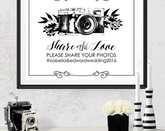 Share the Love Wedding Social Media Poster - INSTANT DOWNLOAD - Editable Printable Wedding Camera Photo Instagram hashtag Social Share Sign