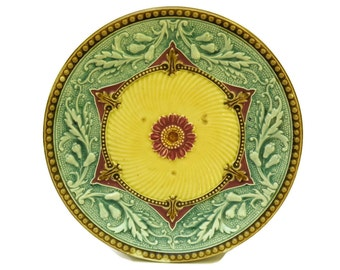Antique Blue and Yellow Majolica Wall Plate.