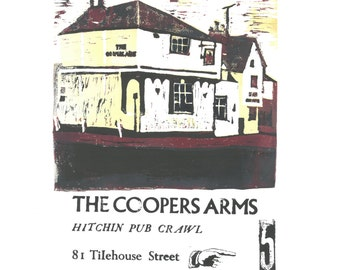Hitchin Pub Crawl - Coopers Arms - Lino and Letterpress Print- Poster