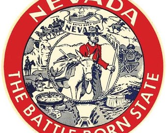 Vintage Style Battle Born state  Nevada  Reno Las Vegas  Travel Decal sticker