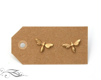 Gold bee - hand-soldered studs 13x7mm made of brass and stainless steel