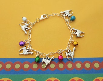 Llama Bracelet, Bell Bracelet, Alpaca Jewelry, Jingle Bells, Festival Jewellery, Llama Gift, Llama Lover, Colorful Jewelry, Alpaca Gift