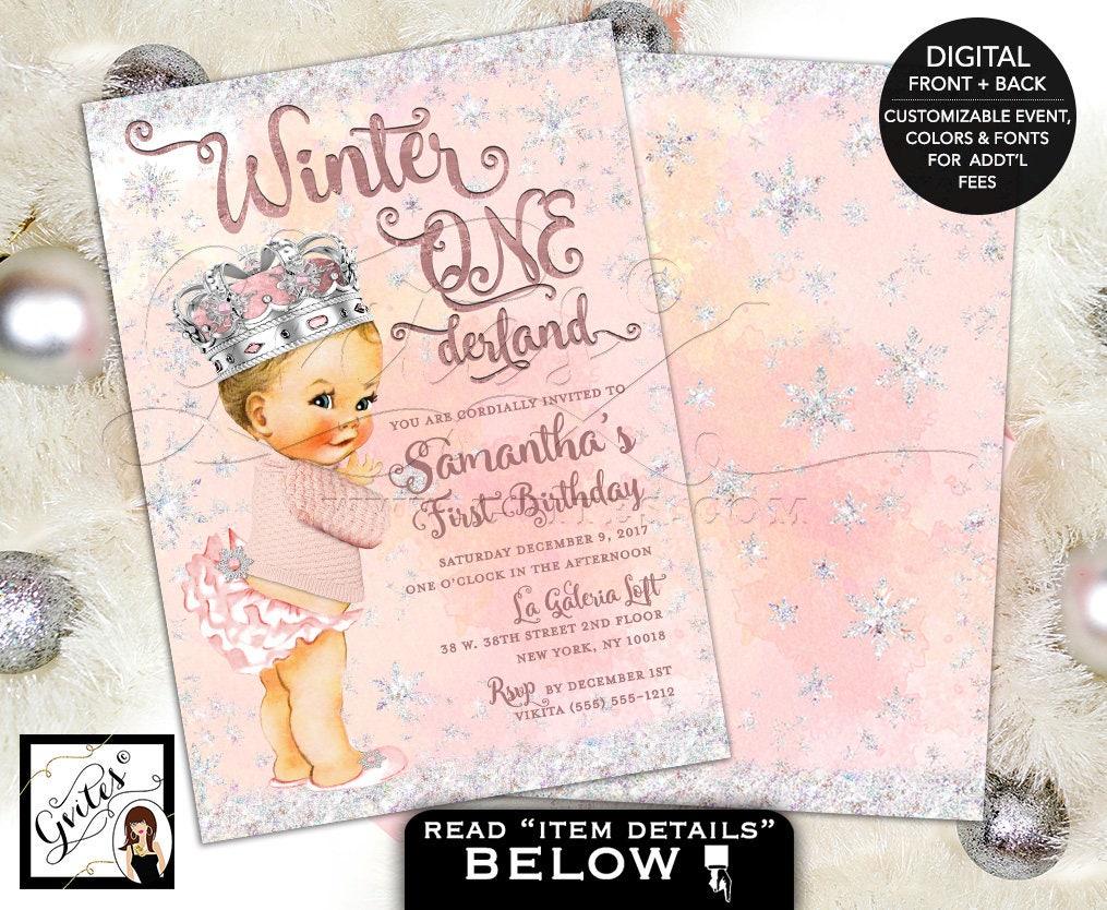 Winter wonderland onederland invitations, first birthday vintage ...