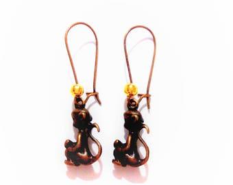 bronze monkey earrings